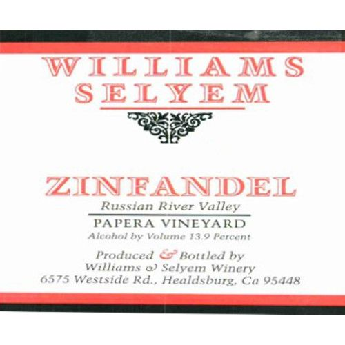 Williams Selyem Papera Vineyard Zinfandel 2014 Front Label
