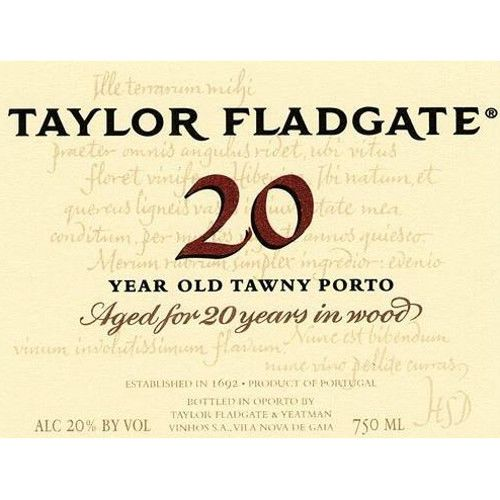 Taylor Fladgate 20 Year Old Tawny Front Label