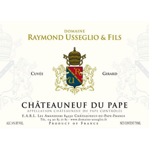 Domaine Raymond Usseglio Chateauneuf-du-Pape Girard 2013 Front Label