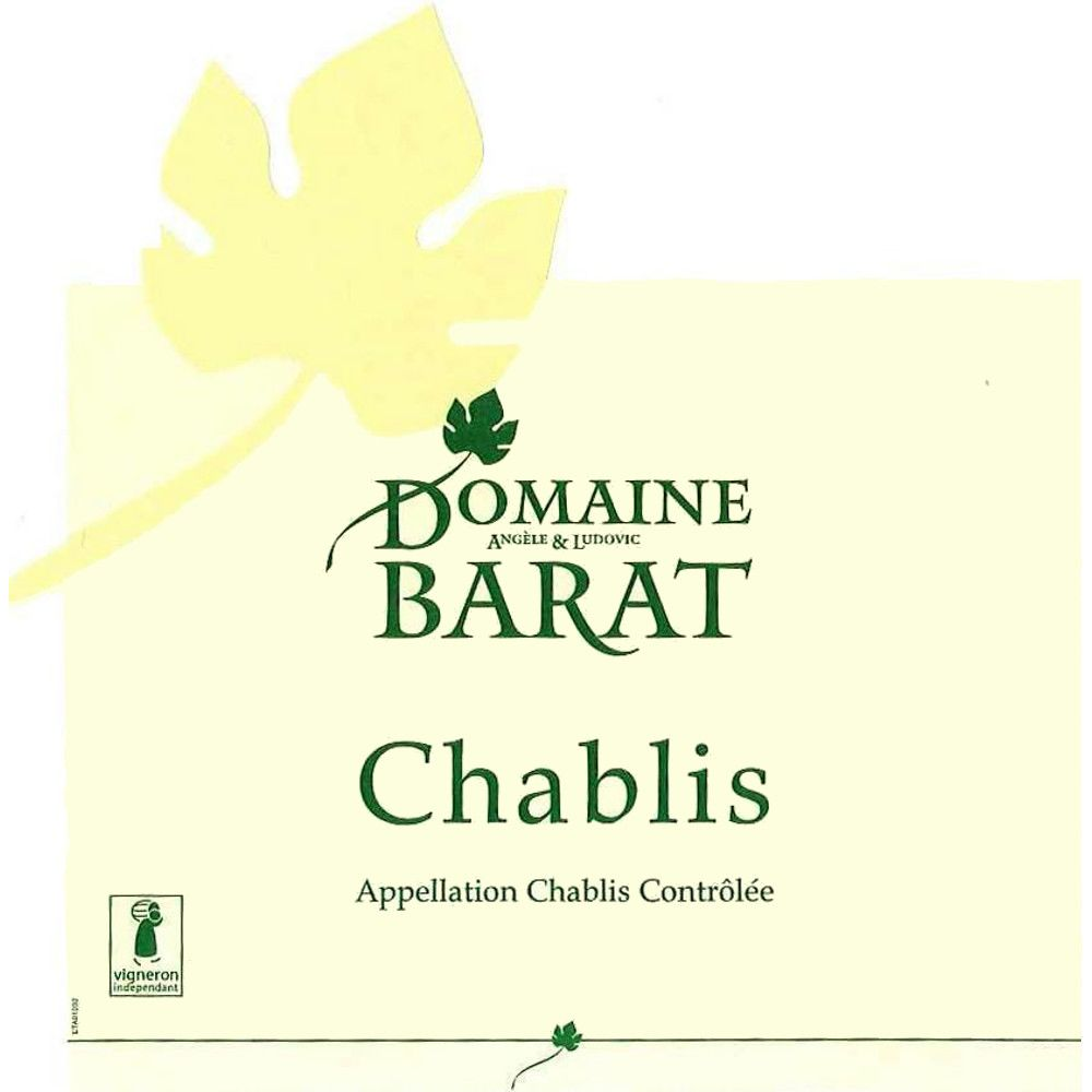 Domaine Barat Chablis (375ML half-bottle) 2014 Front Label