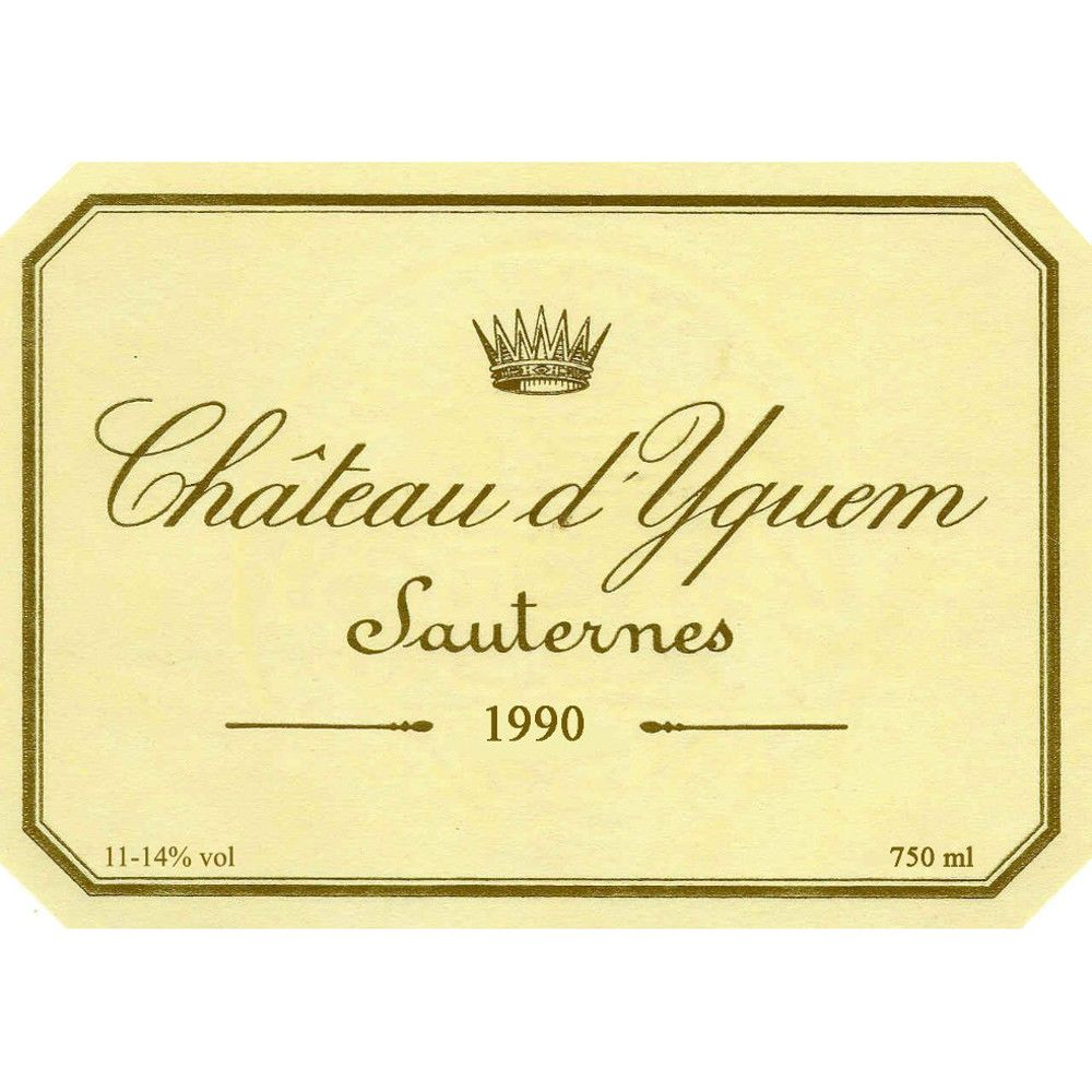 Chateau d'Yquem Sauternes (375ML half-bottle) 1990 Front Label