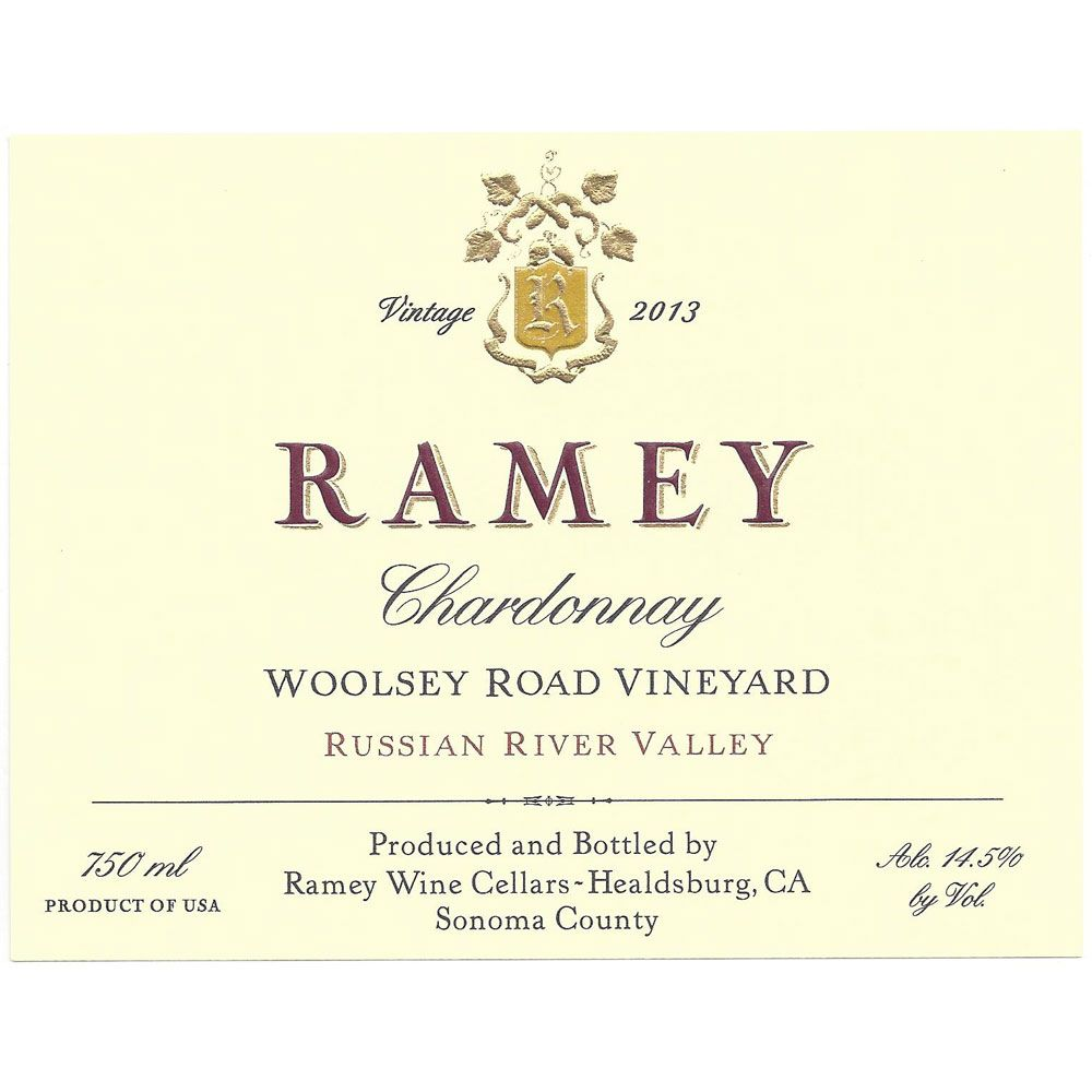 Ramey Woolsey Road Vineyard Chardonnay 2013 Front Label