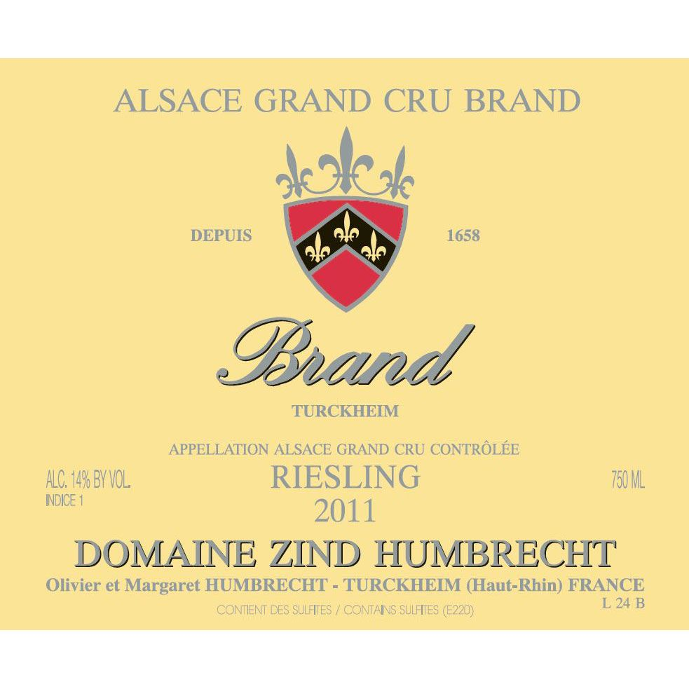 Zind-Humbrecht Brand Grand Cru Riesling 2011 Front Label