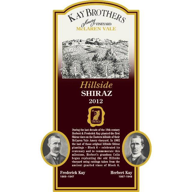 Kay Brothers Hillside Shiraz 2012 Front Label