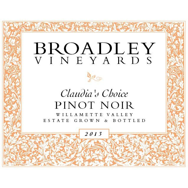 Broadley Claudia's Choice Pinot Noir 2013 Front Label