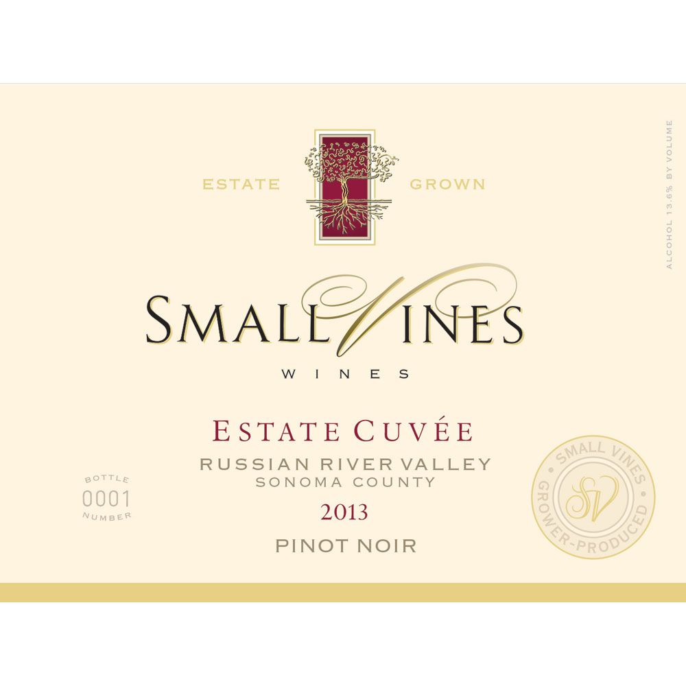 Small Vines Estate Cuvee Pinot Noir 2013 Front Label
