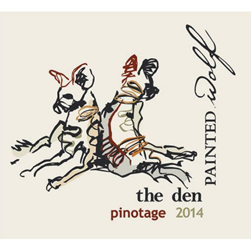 Painted Wolf The Den Pinotage 2014 Front Label