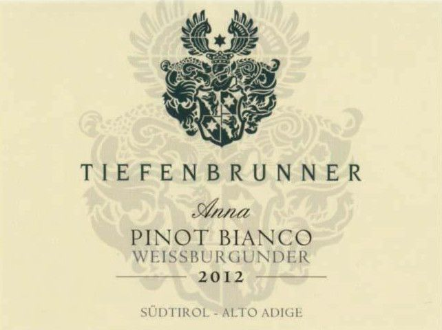Tiefenbrunner Anna Pinot Bianco 2012 Front Label
