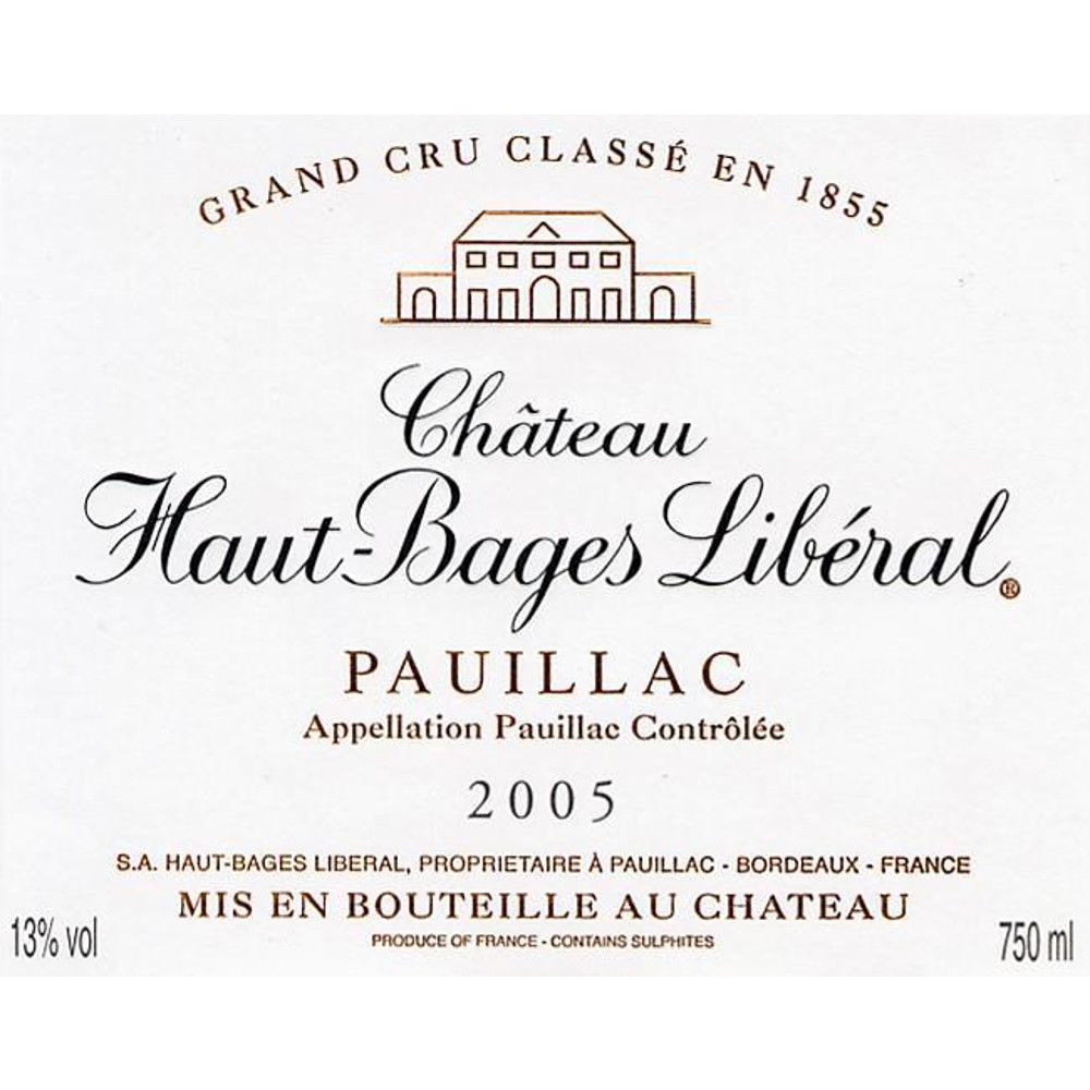 Chateau Haut-Bages Liberal  2005 Front Label