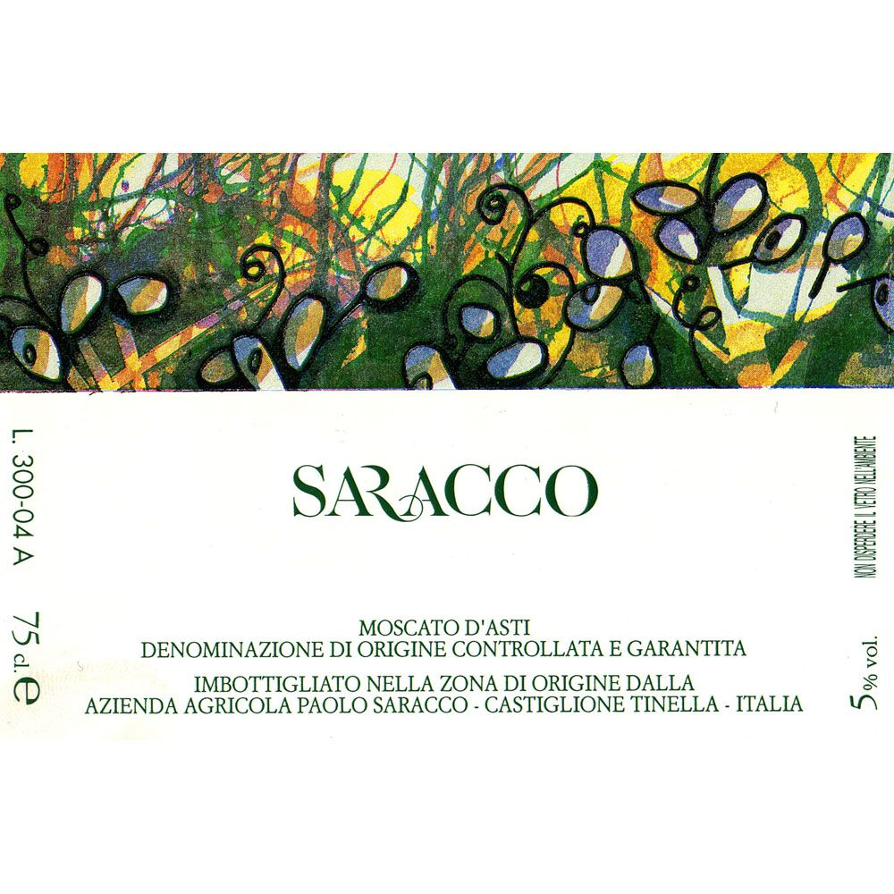 Saracco Moscato d'Asti (375ML half-bottle) 2015 Front Label