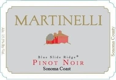 Martinelli Blue Slide Ridge Pinot Noir 2013 Front Label