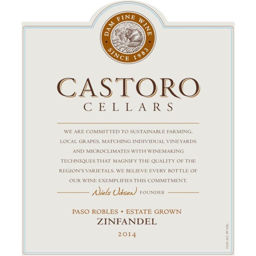 Castoro Cellars Zinfandel 2014 Front Label