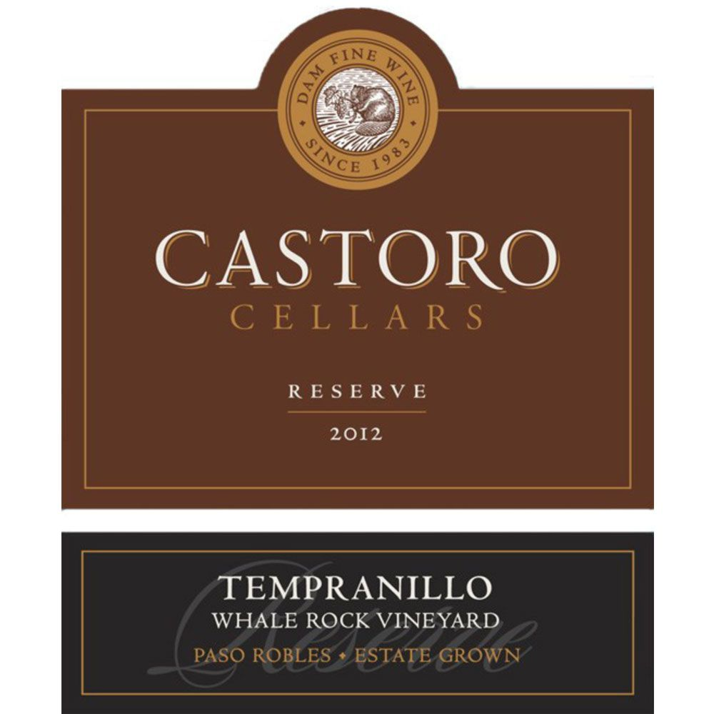 Castoro Cellars Whale Rock Vineyard Tempranillo 2012 Front Label