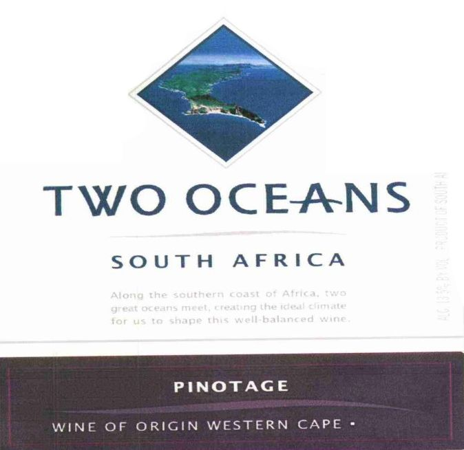 Two Oceans Pinotage 2010 Front Label