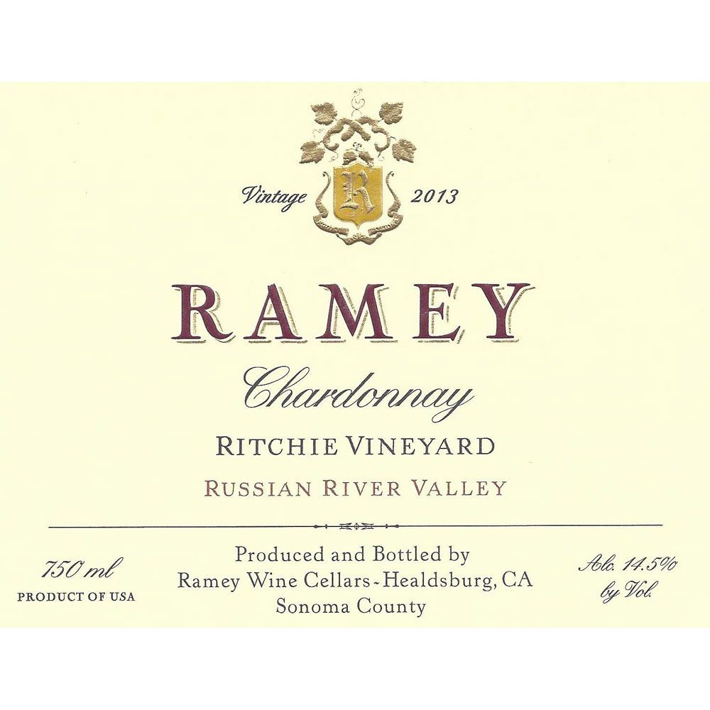 Ramey Ritchie Vineyard Chardonnay 2013 Front Label