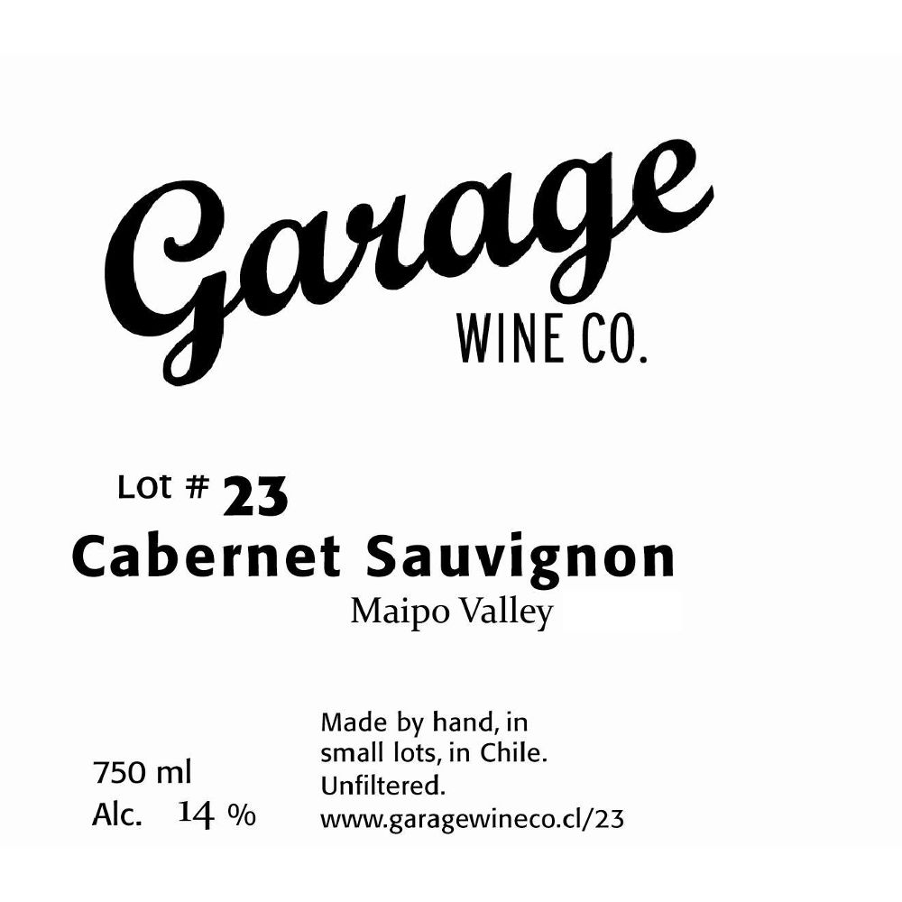 Garage Wine Co. Cabernet Sauvignon 2014 Front Label