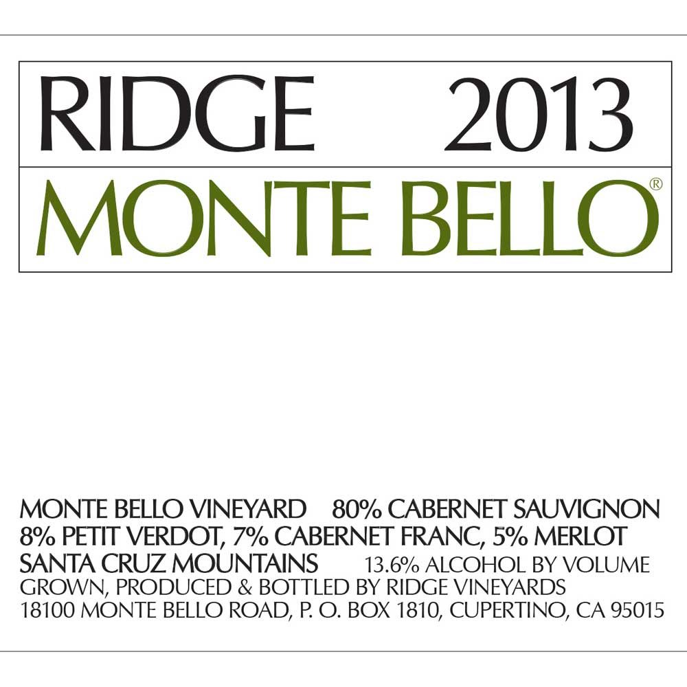 Ridge Monte Bello (375ML half-bottle) 2013 Front Label