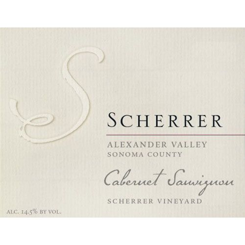 Scherrer Winery Alexander Valley Cabernet Sauvignon 2012 Front Label