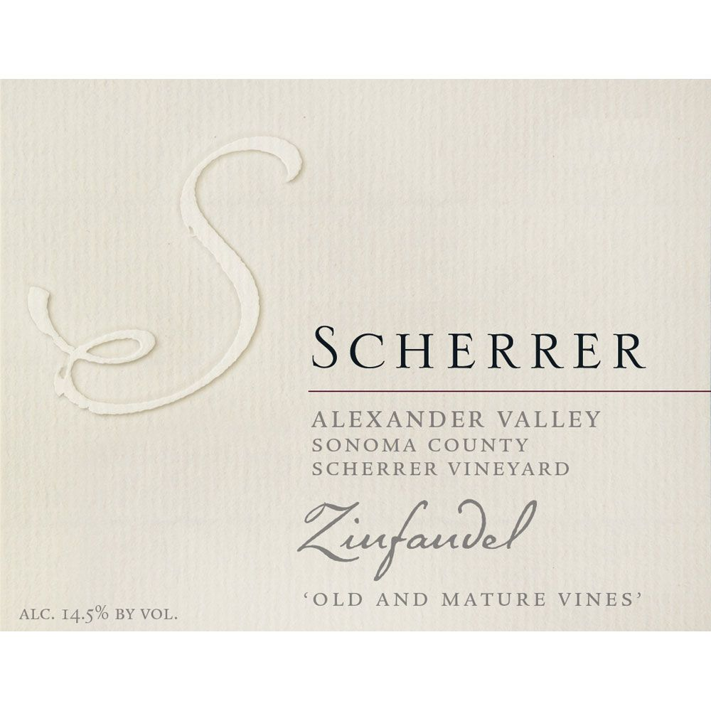 Scherrer Winery Scherrer Vineyard Old and Mature Vines Zinfandel 2013 Front Label