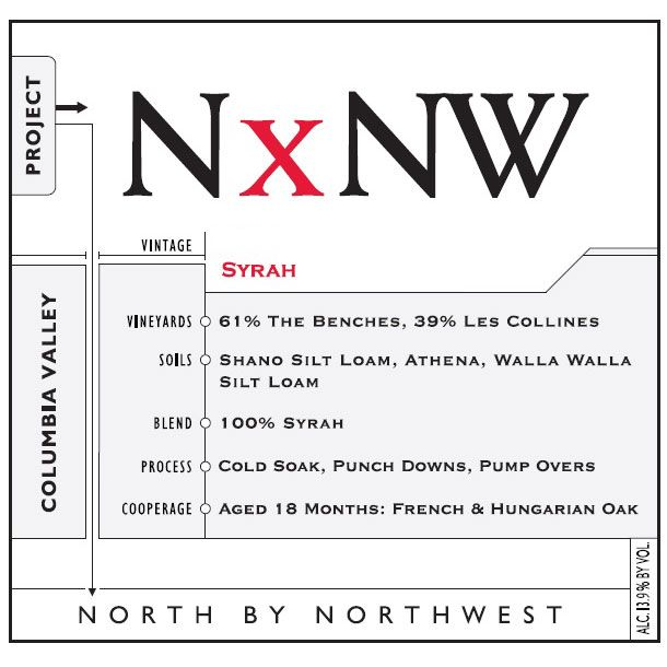 North by Northwest NxNW Syrah 2013 Front Label