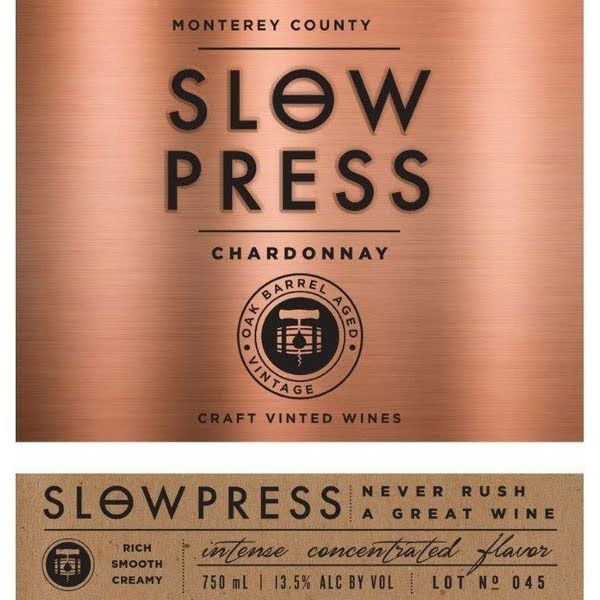 Slow Press Chardonnay 2014 Front Label