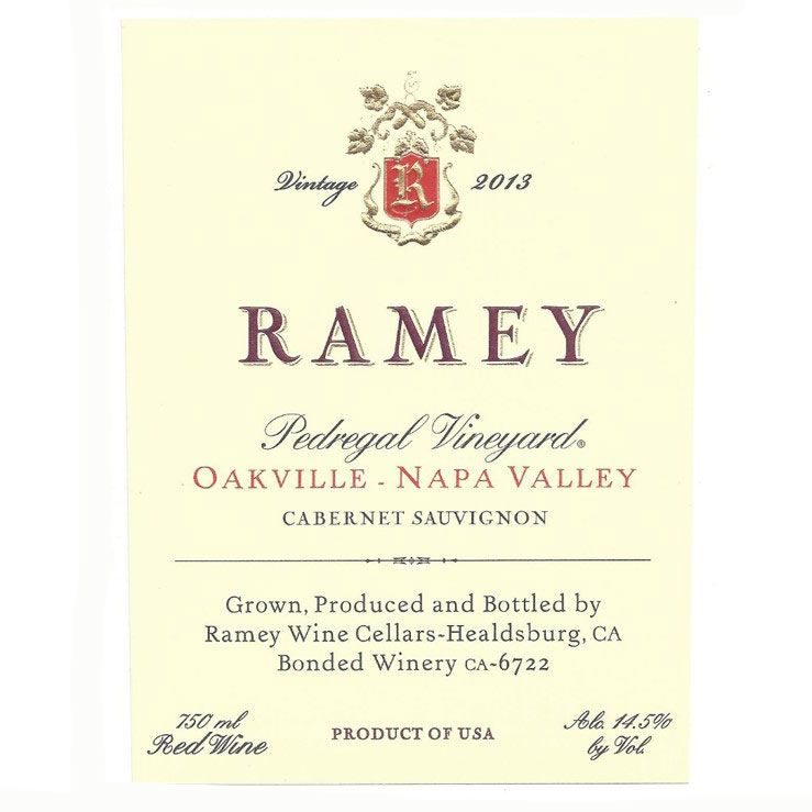 Ramey Pedregal Vineyard Cabernet Sauvignon 2013 Front Label