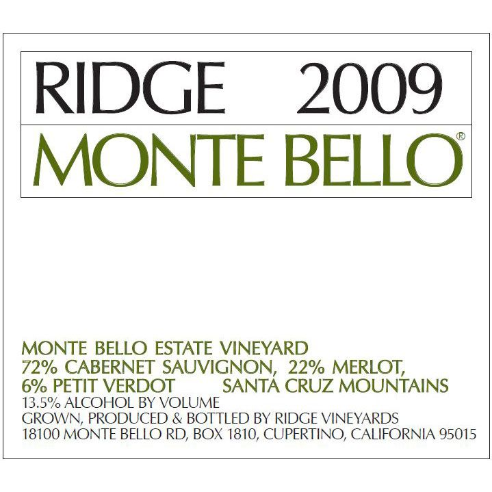 Ridge Monte Bello (1.5 Liter Magnum) 2009 Front Label