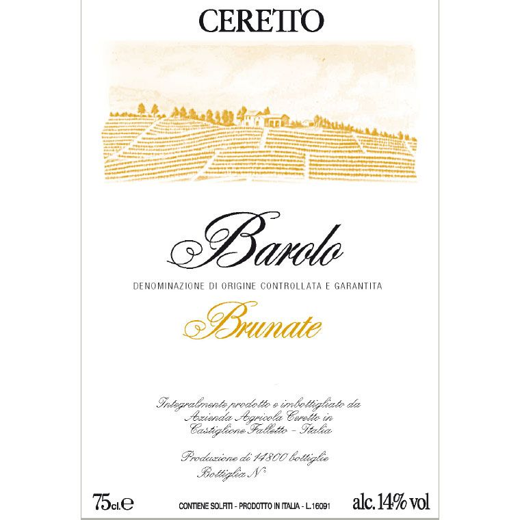 Ceretto Brunate Barolo 2010 Front Label