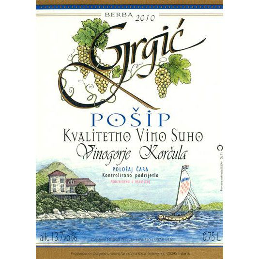 Grgic Vina Posip 2010 Front Label
