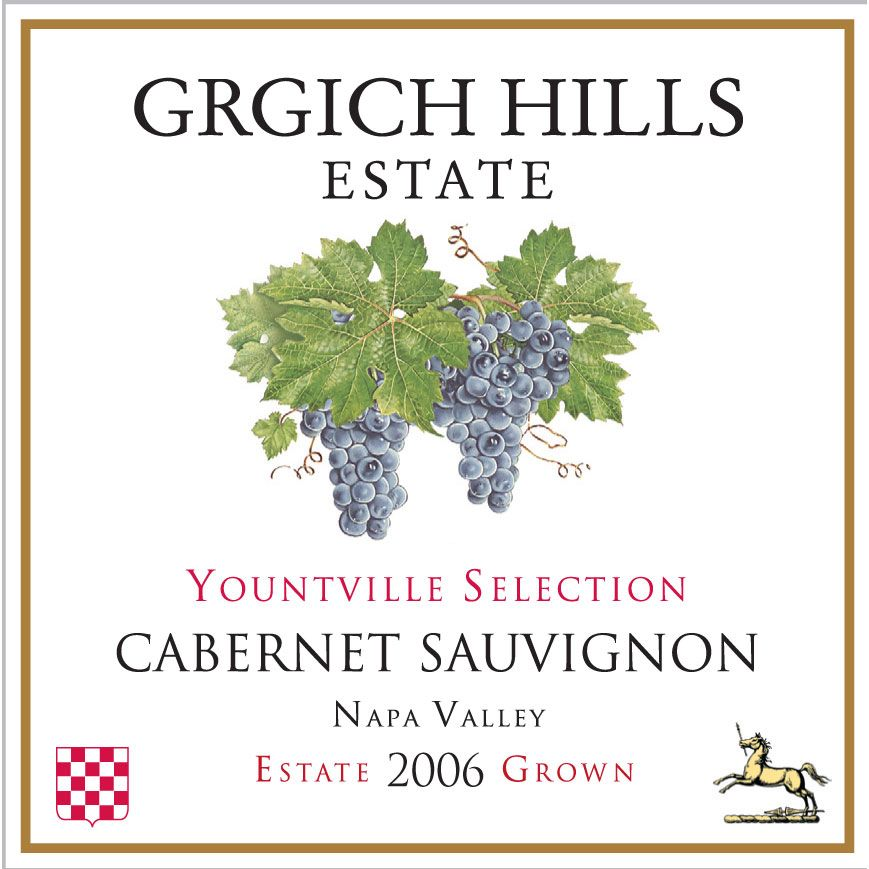 Grgich Hills Estate Yountville Selection Cabernet Sauvignon 2006 Front Label