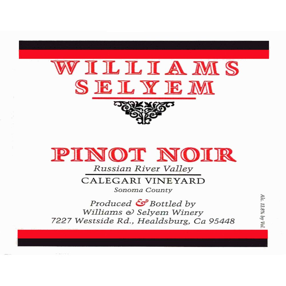 Williams Selyem Calegari Vineyard Pinot Noir 2014 Front Label