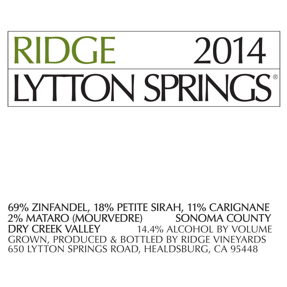 Ridge Lytton Springs (375ML half-bottle) 2014 Front Label