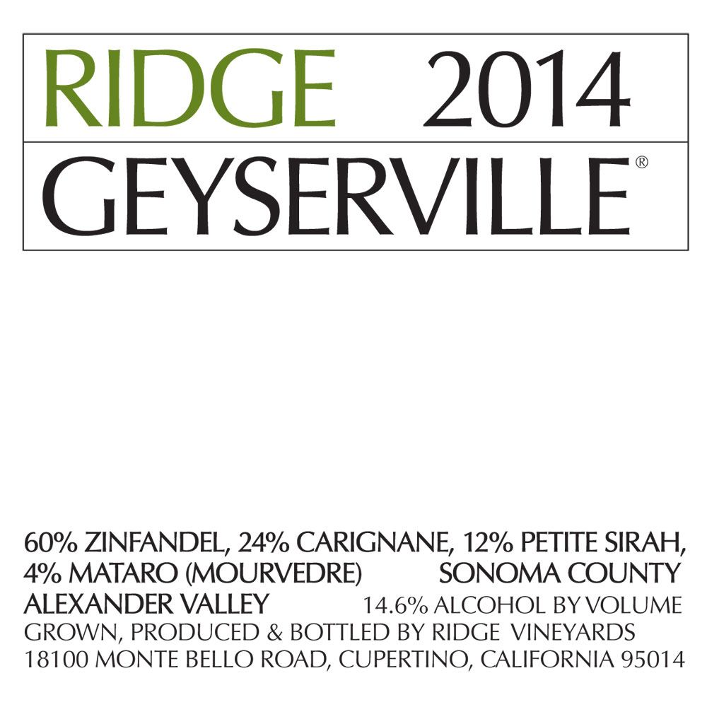 Ridge Geyserville (375ML half-bottle) 2014 Front Label