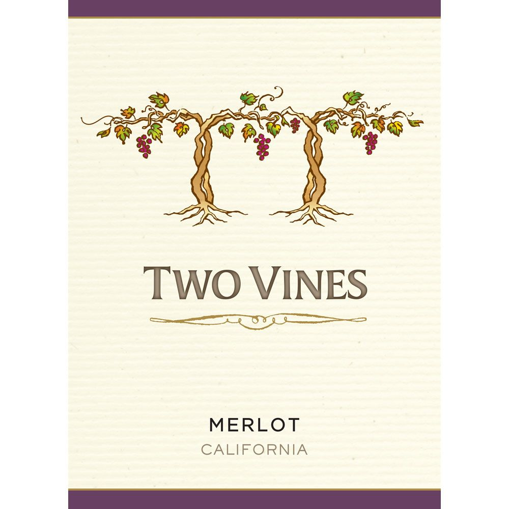 Two Vines California Merlot 2014 Front Label