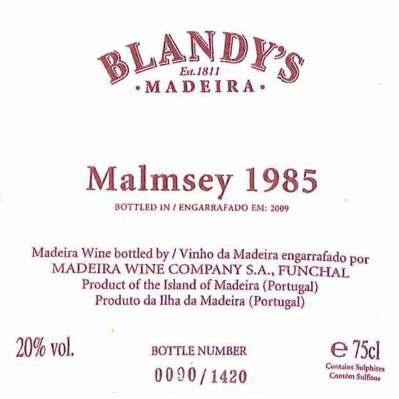 Blandy's Vintage Malmsey Madeira 1985 Front Label