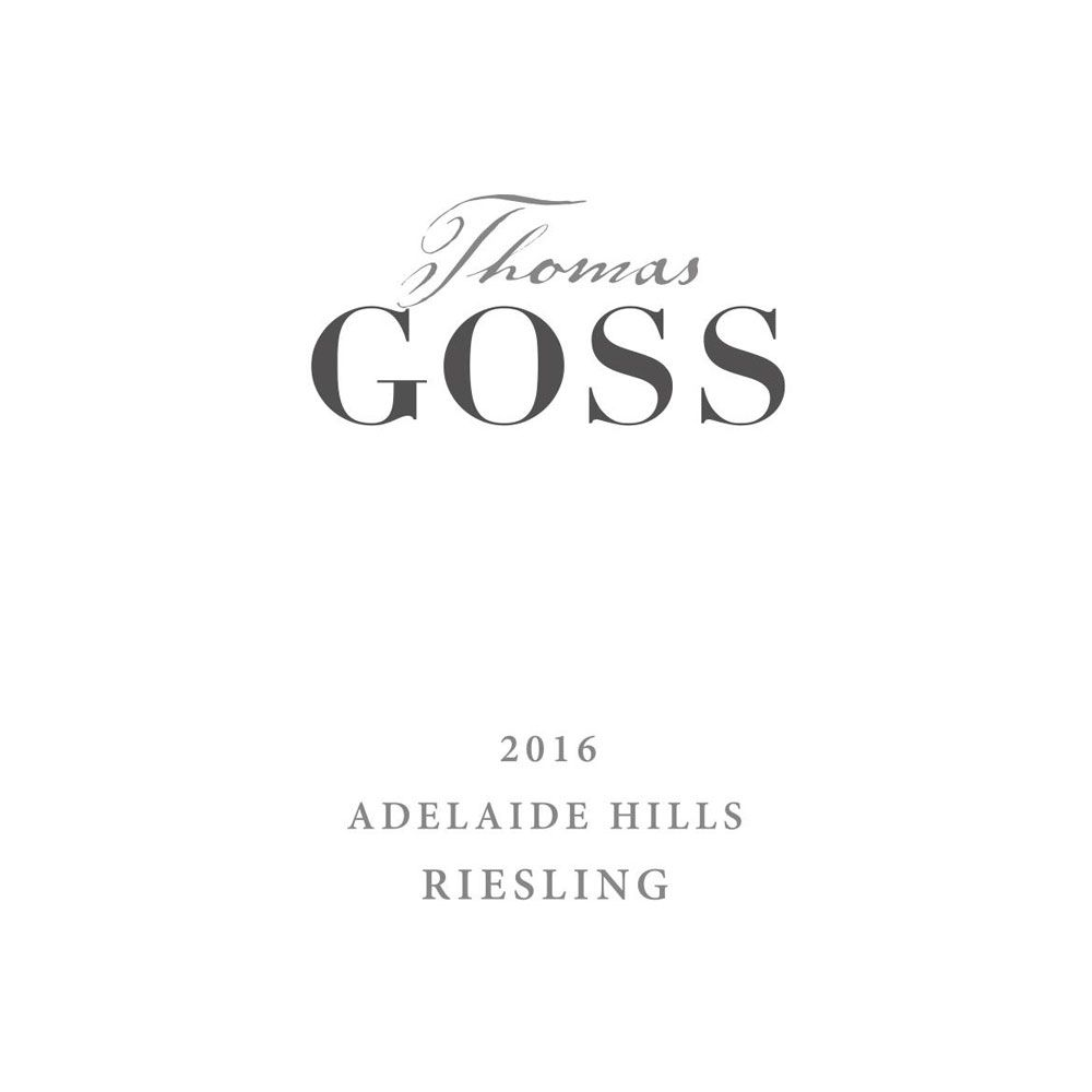 Thomas Goss Riesling 2016 Front Label