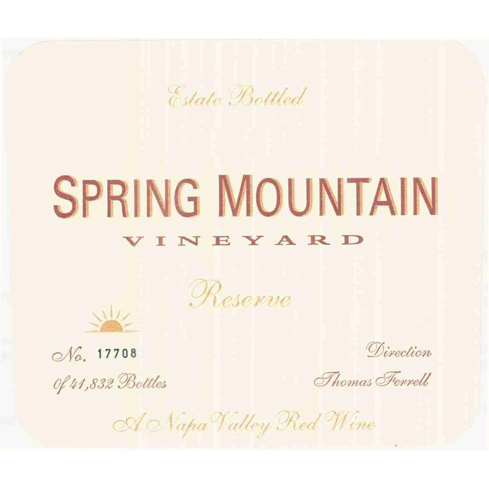 Spring Mountain Vineyard Estate Reserve (stained label) 1996 Front Label