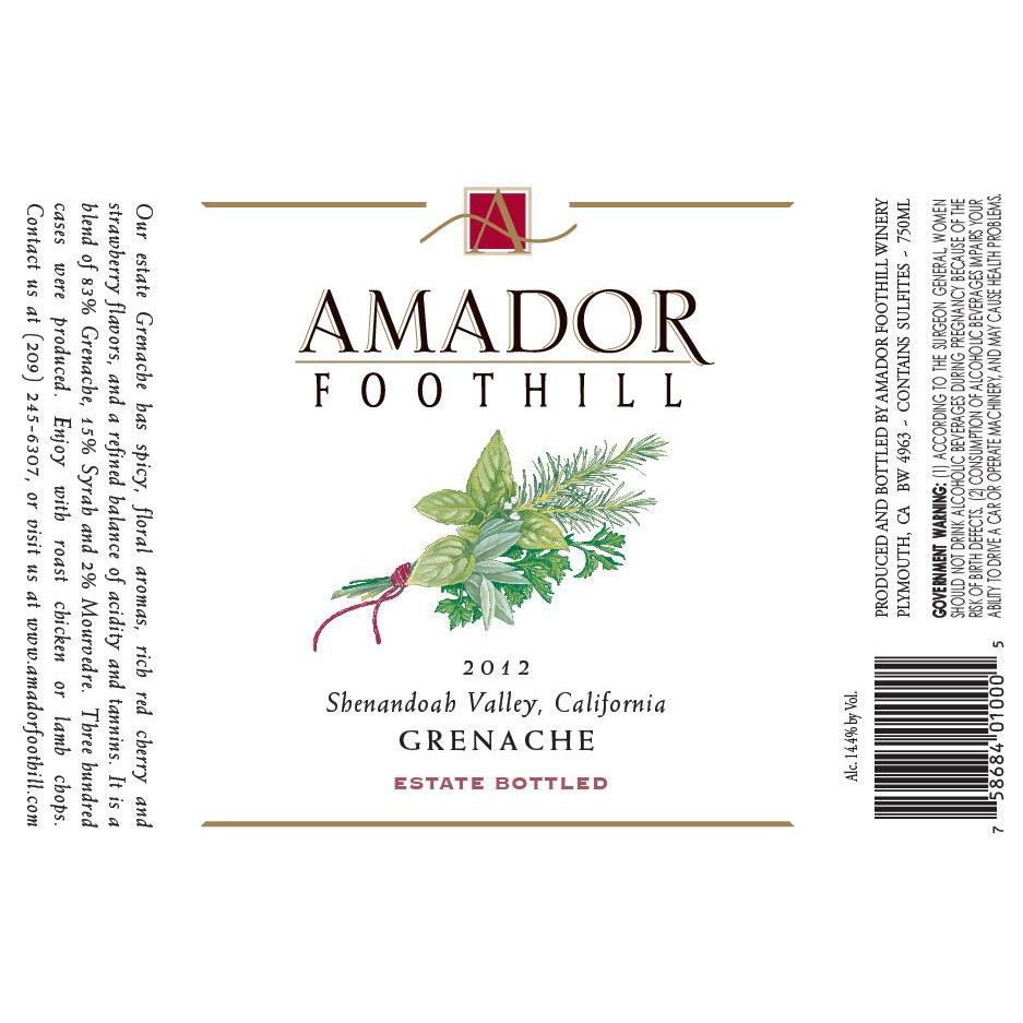 Amador Foothill Grenache 2012 Front Label