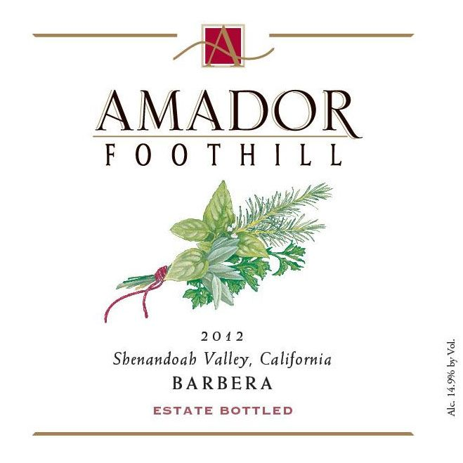 Amador Foothill Barbera 2012 Front Label