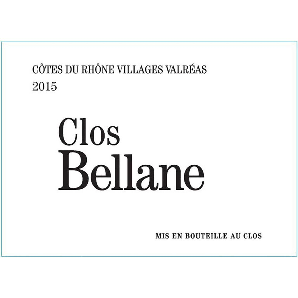Clos Bellane Cotes du Rhone Villages Valreas Blanc 2015 Front Label