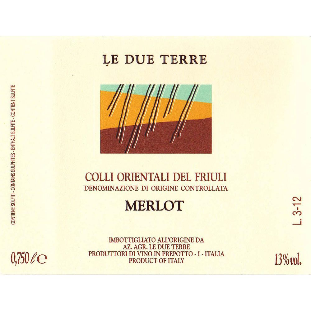 Le Due Terre Merlot 2002 Front Label