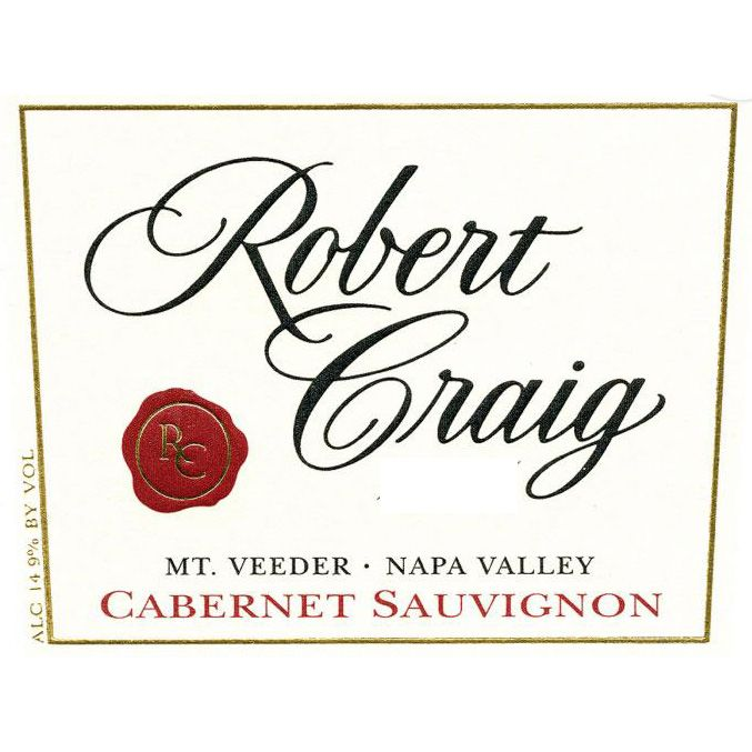 Robert Craig Cellars Mt. Veeder Cabernet Sauvignon (stained label) 1996 Front Label