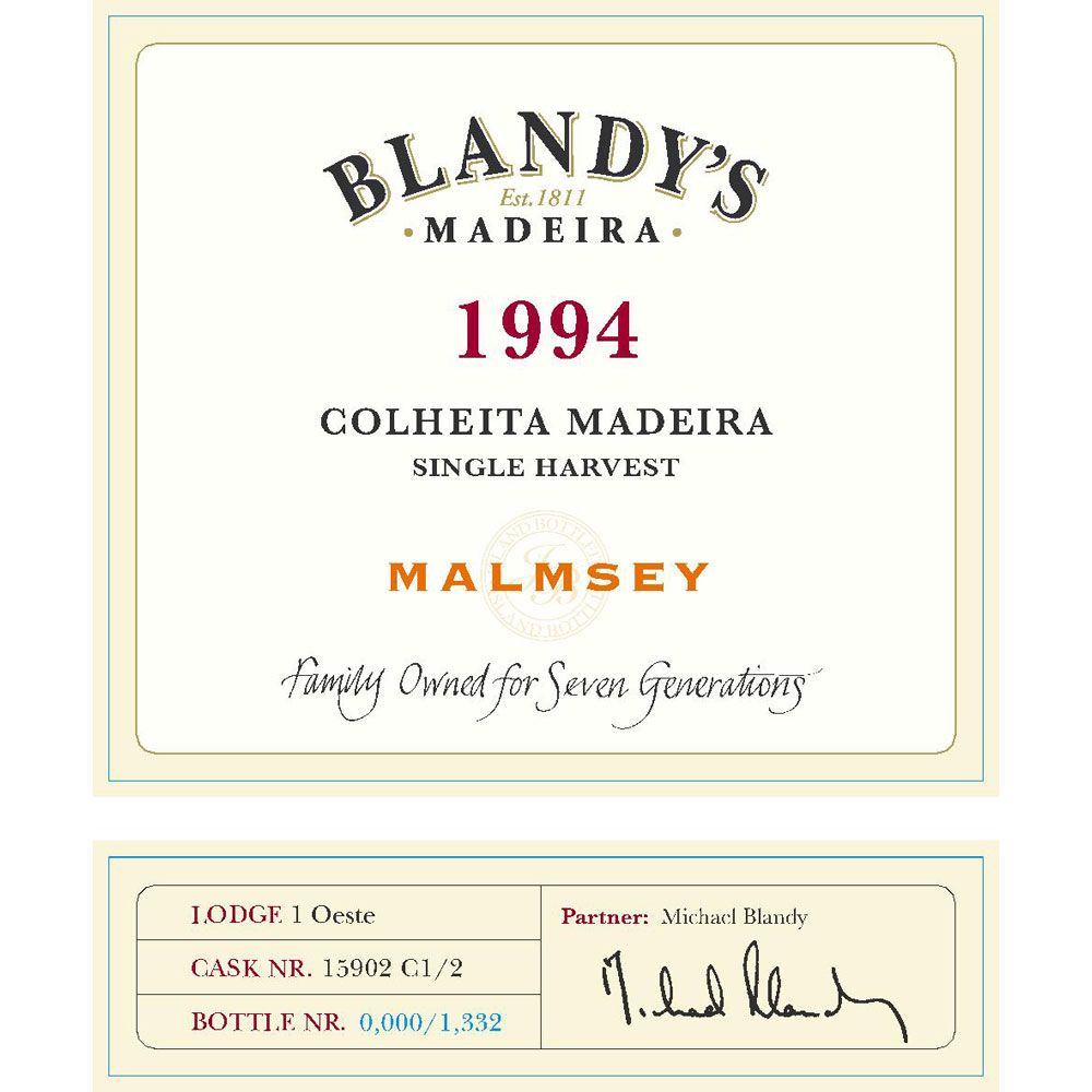 Blandy's Madeira Colheita Malmsey Single Harvest (500ML) 1994 Front Label