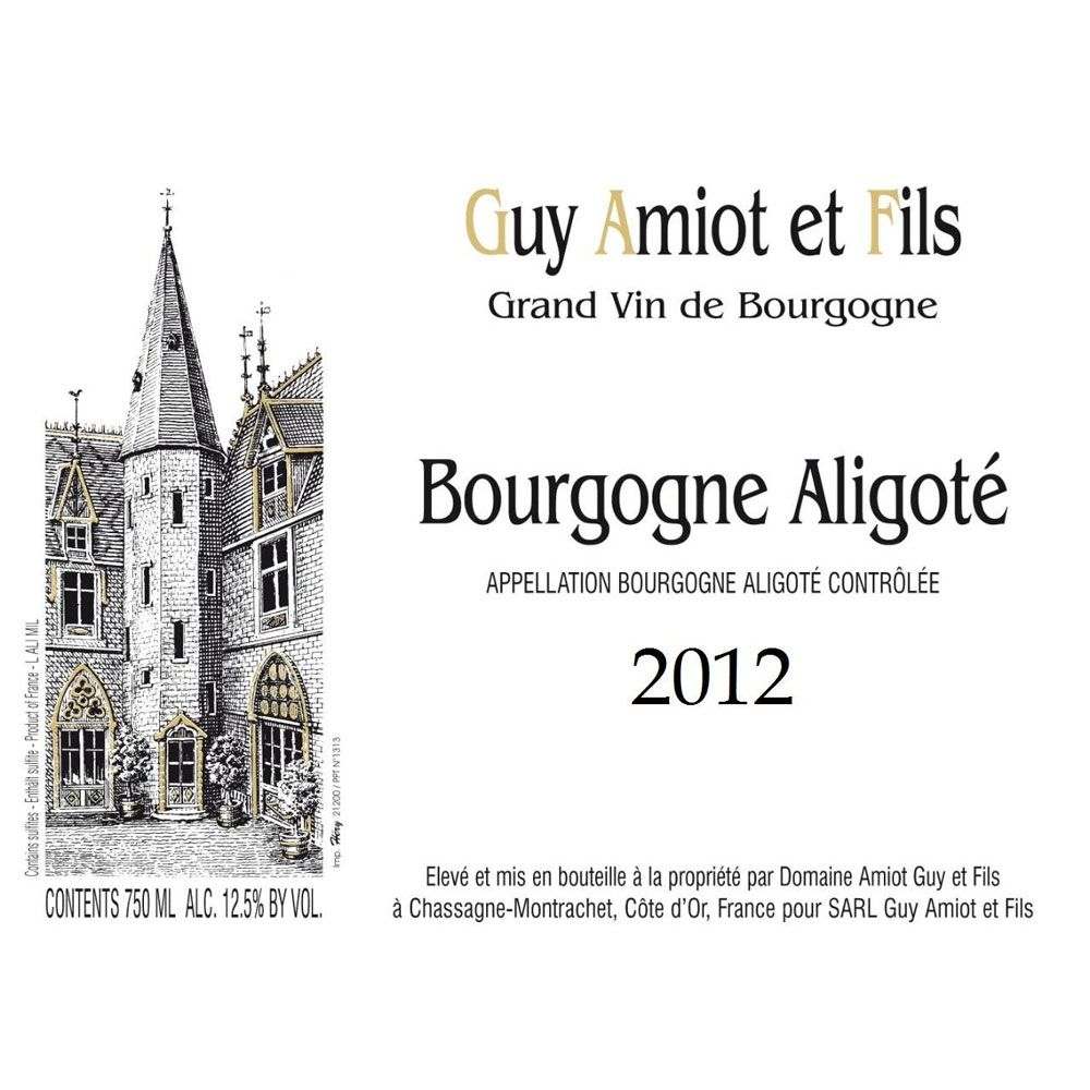Guy Amiot Bourgogne Aligote 2012 Front Label