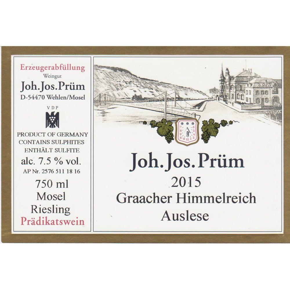 J.J. Prum Graacher Himmelreich Auslese Riesling 2015 Front Label