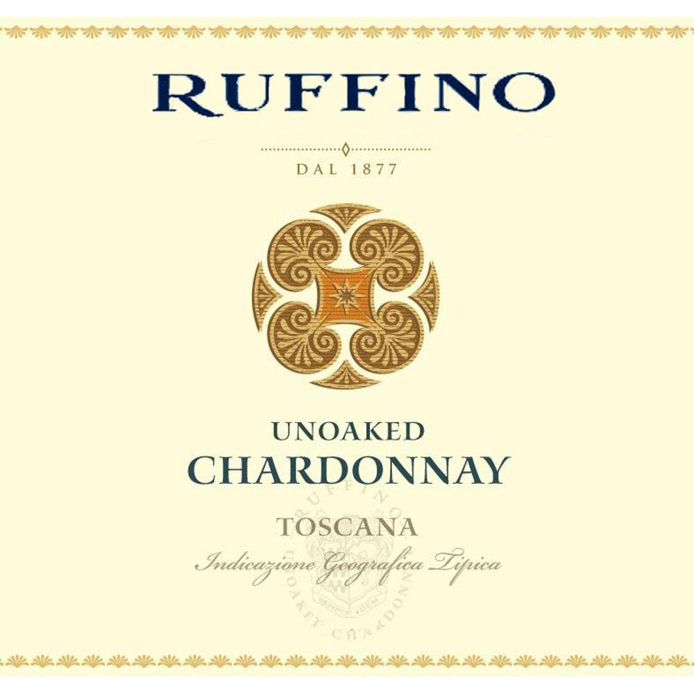 Ruffino Unoaked Chardonnay 2015 Front Label