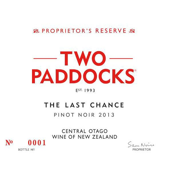 Two Paddocks The Last Chance Pinot Noir 2013 Front Label