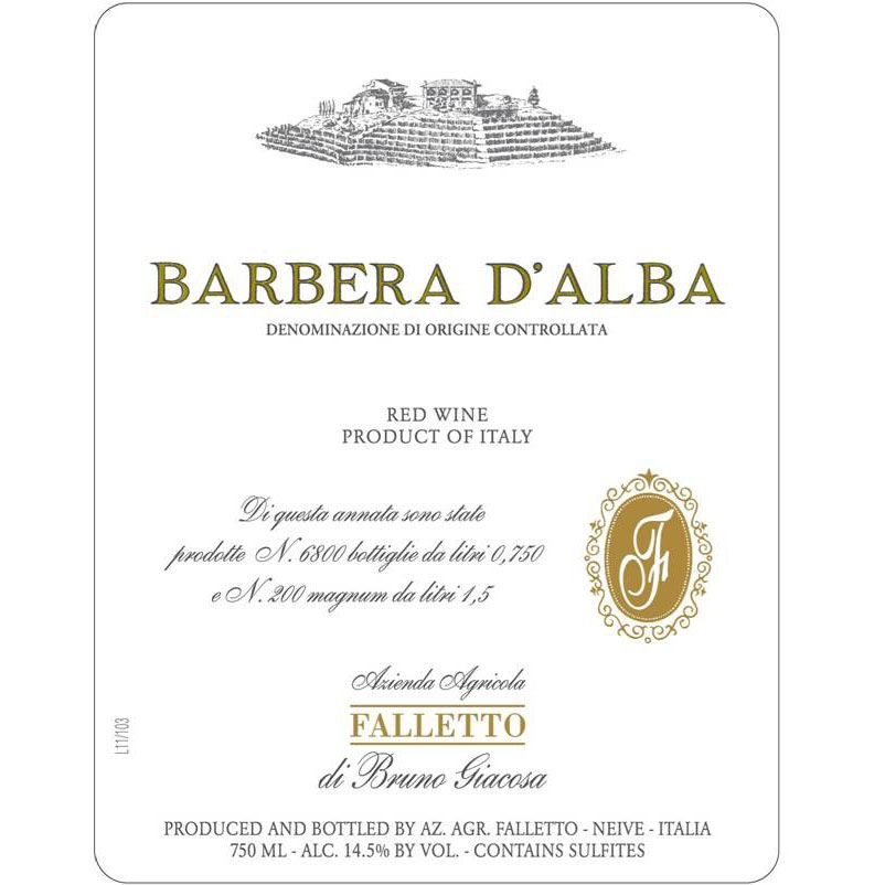 Bruno Giacosa Falletto Barbera d'Alba 2012 Front Label