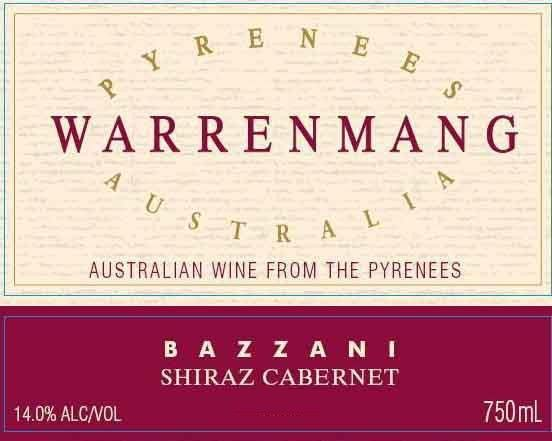 Warrenmang Bazzani Shiraz Cabernet 2007 Front Label