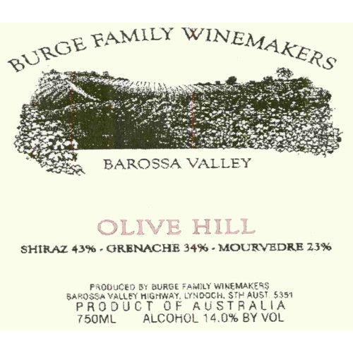 Burge Family Olive Hill 1999 Front Label